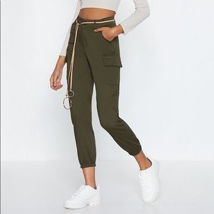 Nasty Gal Pants & Jumpsuits - Nasty Gal khaki high-waisted cargo pants - M